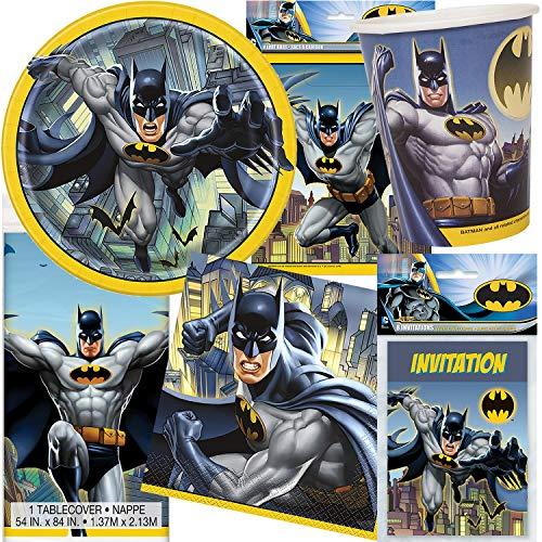 101-teiliges PARTY SET * BATMAN * für Kindergeburtstag mit 8 Kinder: Teller, Becher, Servietten, Einladungen, Tischdecke, Partytüten, Deko | DC Comic Superheld Fledermaus Gotham City Luftballons