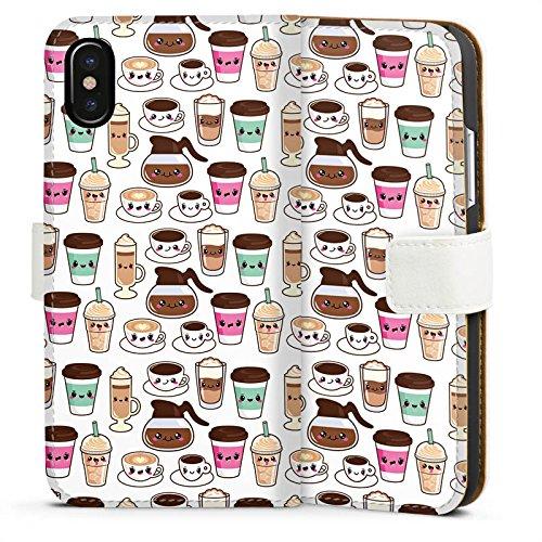 Apple iPhone X Silikon Hülle Case Schutzhülle Kaffee Coffee Kawaii Manga Style Sideflip Tasche weiß