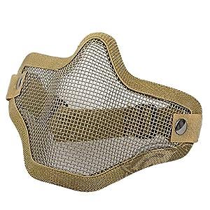 Gesichtsmaske – TOOGOO (R) Taktik Sandfarbene Wueste Haelfte Gesichtsmaske CS Stahl Metall Gitter Maske 20 ¡Á 15 ¡Á 11 cm