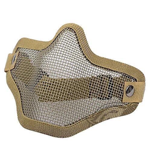 Mascara - SODIAL(R)La caza de la mascara de alambre de metal de la media cara CAT Airsoft del acoplamiento de la mascara de Paintball resistente color arena 2