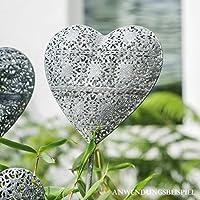 Herz od Vogel aus Metall grau//braun L 100 cm Gartendeko Gartenstecker Blume od