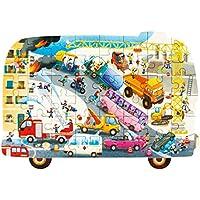 ROBOTIME Wooden Puzzle Irregular - 48 pezzi Jigsaw Puzzle per bambini di 3 anni e verso l'alto (Brave Fireman)