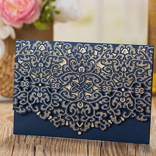 AOWEIRILUV 100 PC Blaue Hochzeits-Einladungs-Karten-Gruß-Karten-Umschläge Geburtstags-Hochzeitsfest-Dekoration