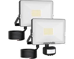 NOVOSTELLA 2 Projecteurs LED 30W Exterieur Détecteur de Mouvement En Graphène 6000K, 3000LM Spot à LED Mural Puissant Éclaira