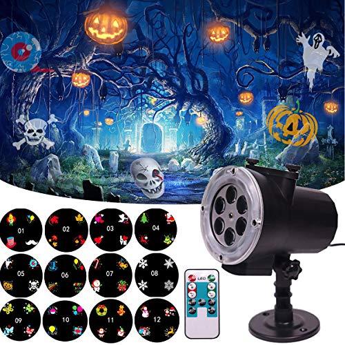 Uolor Upgraded HD Lumière De Projecteur De Décoration De Halloween avec Télécommande, Étanche à La Lumière De Projection LED avec 12 Patrons De Modèles pour la Fête D