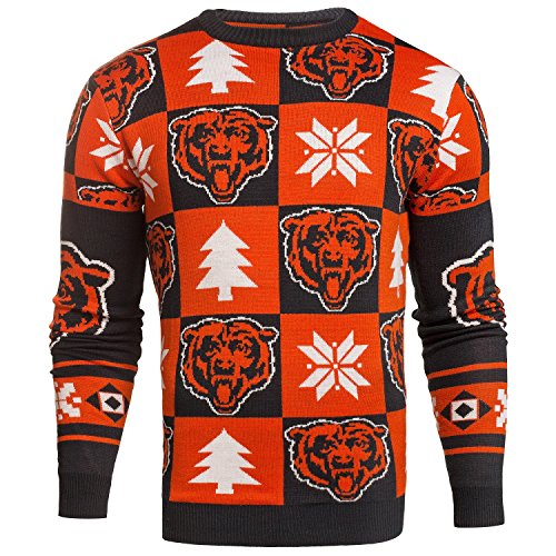 NFL Ugly Sweater Pullover Christmas CHICAGO BEARS Patches Crew Neck in XL X-LARGE Weihnachtspullover