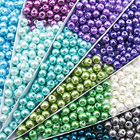 TOAOB 4mm Round Glass Pearl Beads Mixed Colour Pack of 1100pcs