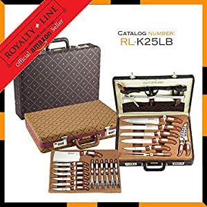 royalty line rl k25lb edelstahl messer set lederetui 25 teilig k che haushalt. Black Bedroom Furniture Sets. Home Design Ideas