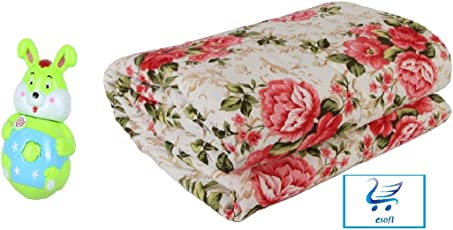 Esoft Printed Cotton Double Bed Ac Comforters/Quilt with Puzzle Tumbler, (Multicolour, ESACDQ931)