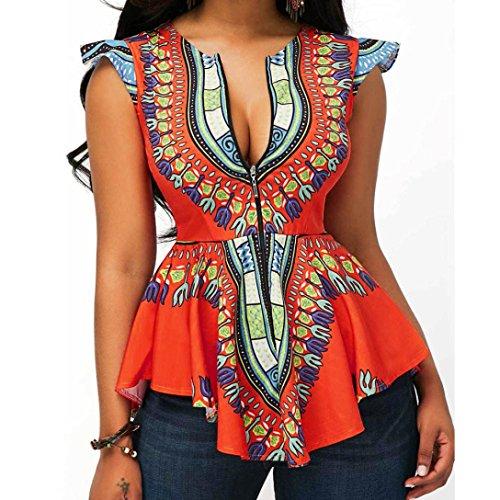 TuHao Women Asymmetric Hem Cap Sleeve Printed Zipper Closure Blouse Tops