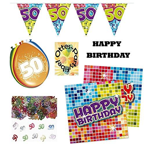 0 Jahre Party-Set Disco Girlande Ballons Konfetti 32 Servietten ()