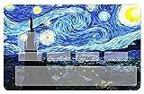 Deco-idees Sticker, Autocollant decoratif pour Carte bancaire, Hommage à Van Gogh, la Nuit étoilée - Autocollant Vinyle Brillant de Haute qualité, création & Fabrication 100% Française