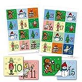 Bastel-Set: 24 Adventskalender Zahlen Nummern Aufkleber von 1 bis 24 für Kinder mit Wichtel, Christkind, Schneemann, Nikolaus, ... 6 x 6 cm rot grün blau gelb zum selber machen, basteln und befüllen!