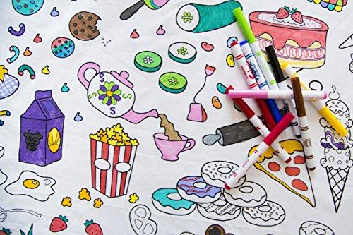 Die Einfärbung Tisch-Speisen Fun Tischdecke, Textil, White with Black Lines, Rectangle (59