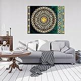 FORWALL Bilder Golden Mandala in Smaragd O1 (100cm. x 75cm.) Leinwandbilder Wandbild AMFPP10121O1