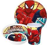 Marvel Spiderman, servizio con piatto, ciotola per müsli e bicchiere in melammina