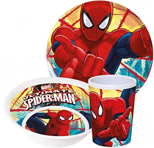 Marvel Spiderman enfants Service avec assiette, bol et gobelet en mélamine