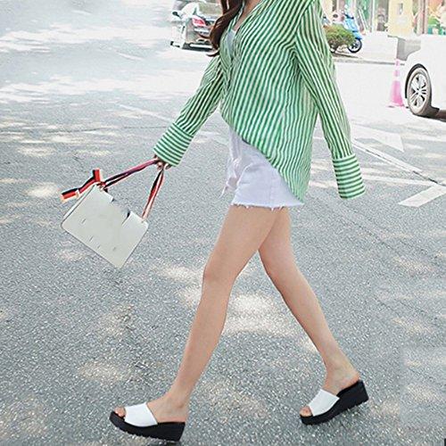 ZHANGRONG-- Pente simple avec des pantoufles inférieures épaisses Sandales à glissière de mots de mode d'été féminin Chaussons à talons hauts à glissière antidérapants Chaussures de plage chaussures ( Noir