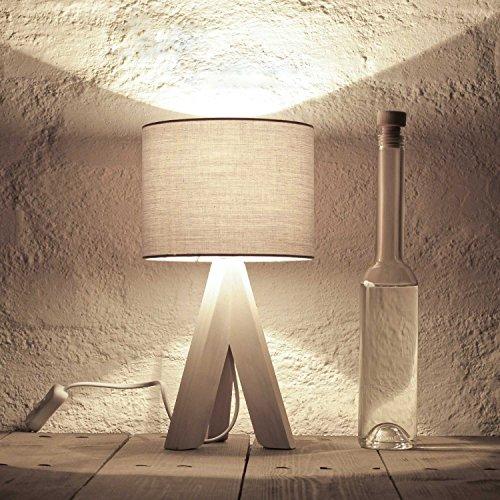Bauhaus Stil Tischleuchte mit Holzfuß und grauem Stoffschirm E14 mit Kabelschalter Nachttischlampe...