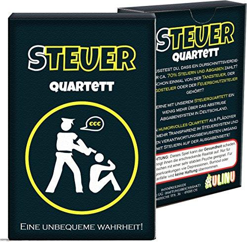 Quartett KU1337 - Steuerquartett, Das Kartenspiel für Erwachsene mit Wutanfallgarantie, lustiges Gesellschaftsspiel als Geschenk-Idee (48 Karten)