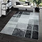 Teppich Preiswert Karo Design Modern Wohnzimmerteppich Grau Schwarz Top Preis, Größe:240x340 cm