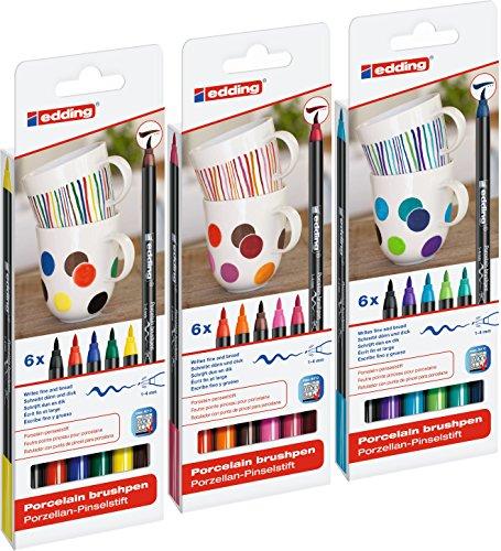 edding 4200 Porzellan-Pinselstift (auch für Glas und Keramik) - Standardfarben - Farb-Set mit 6 Farben - Porzellan-Brushpen zum Bemalen und Beschriften von Geschirr, Tassen und ofenfestem Glas - Fasermaler mit flexibler Pinselspitze: 1 - 4 mm (Alle 3 Sortiert)