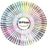 YOHOOLYO 60PCS Stylos Gel Pailletté Multicolores Crayons Gel Stylos Billes à Encre Gel avec Un Sac Feutre Fin pour Dessin