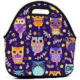 Tote contenitore per alimenti, borse Bento per picnic isolate portatili per viaggi all'aperto di lavoro - Uccelli colorati stampati gufi carini Vector Seamless Pattern