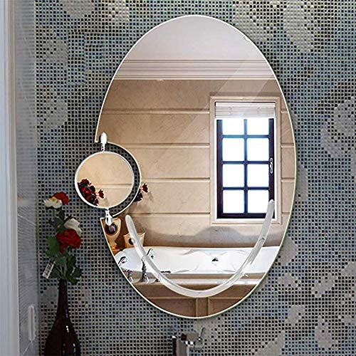 Ovaler rahmenloser Spiegel Home Make-up Waschspiegel 5 mm Schönheit, Make-up, WC-Wandspiegel Hd-Spiegel für Badezimmerschrank, über dem Waschbecken 60x85 cm -