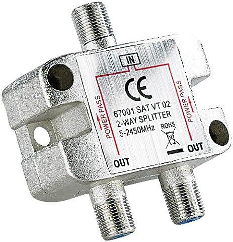 Sat-Verteiler 2-fach, 5-2400 MHz, mit Gleichspannungs-Durchgang (Sat Anlage Verteiler)