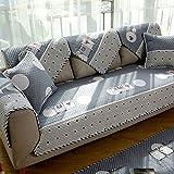 DW&HX Quattro stagioni universale Cotone Stile nord europeo Protettore di mobili di fodera per divano per cane,3 sedi Trapuntato Tinta unita Addensare Copridivano Anti-scivolo-A 28x28inch(70x70cm)