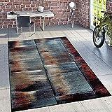 Paco Home Designer Teppich Modern Wohnzimmer Ölgemälde Abstrakt Rost Optik in Rot Schwarz, Grösse:200x280 cm