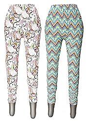 1ly Cargos Womens Free Size Printed Leggings 2Pcs Pack