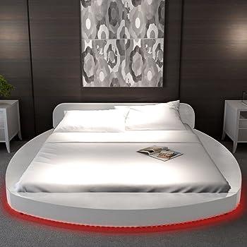 Festnight Cadre de lit avec matelas LED 180 x 200 cm Rond Cuir artificiel da86eaf365b3