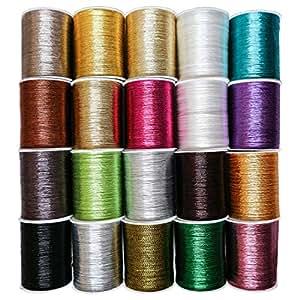 Curtzy Fili Metallici Ricamo - 20 bobine di filo - Filo per Cucito in Colori Assortiti per Ricamo, quilting - Ideale per Cucito a Macchina o a Mano – Miglior Kit per Uomini, Donne e Bambini