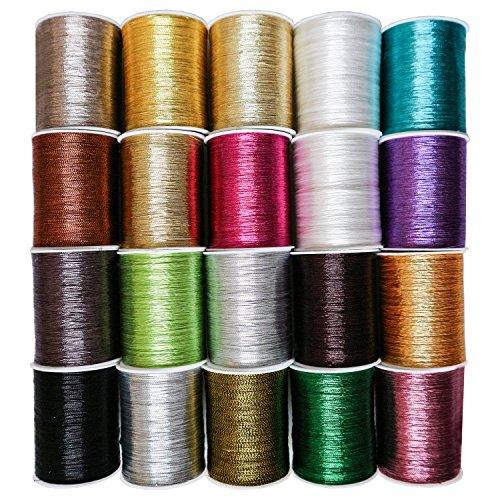 Metallisches Stickgarn (20 Pcs) - (55M) Glitzerndes Faden Set Polyester Nähgarn in Verschiedenen Farben für Stickerei und Quilten für Nähmaschinen Nähen oder Handarbeit -