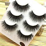 3 Paare Lange Falsche Wimpern Make-up Natürliche Gefälschte Dicke Schwarze Augenpeitschen Am Besten Für Party (3D04, Schwarz)