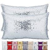 Plandv, cuscino decorativo, in tinta unita, leggero, con paillettes e glitter su un lato, confezione da 2, Silver, 30 x 50 cm