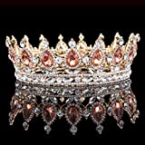 HerZii Princess Rhinestone Crystal Crowns Wedding Tiaras Party Accessories Head Jewelry (Champagne+Gold)