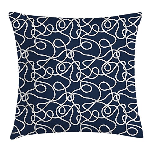 Doormat-bag Navy Throw Pillow Cushion Cover, Under the Sea Atlantic Ocean Inspired Tangled Boat Ship Marine Ropes Image, Decorative Square Accent Pillow Case,Navy Blue and White 18X18 inches (Marine Ocean Instant)