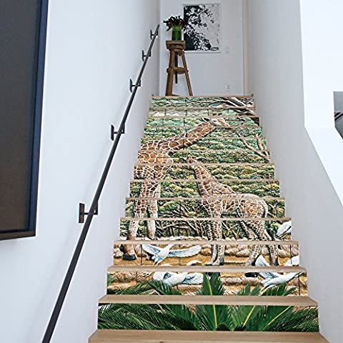 Buluke 13 pcs/diy 3D TREPPE Aufkleber Giraffe Keramikfliesen Muster für Haus Treppen Eingerichtet