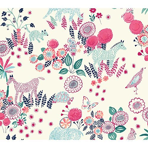 york-wallcoverings-wk6969-waverly-kids-reverie-wallpaper-white-navy-pink-turquoise-teal-by-york-wall
