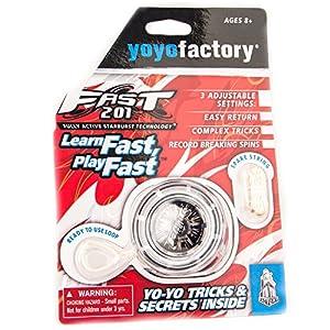 YoyoFactory Fast 201 Yo-Yo - Negro (Genial para Principiantes, Juego Yoyo Moderno, Rodamiento de Bolas de Metal, Freestyle Yoyoing Tricks, Cuerda e Instrucciones Incluidas)