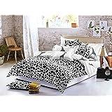 200x200 Bettwäsche mit 2 Kissenbezügen 80x80 geometrisches Muster Bettbezüge Microfaser Bettwäschegarnituren Hypnosis Giraffe schwarz weiß