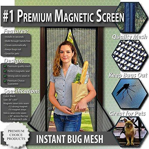 Fliegengitter mit Magnetverschluss, Insektenschutz ohne Bohren / Kleber für Terasse. Balkon, Fenster. Sofortiger Schutz gegen Moskitos, Insekten, Fliegen. Selbstklebend. (Für Türen bis 91 x 208cm)