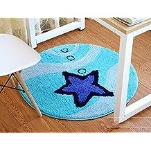 S&Y Silla de ordenador estudio cojines, almohadillas antideslizantes, elegante alfombra dormitorio, salón cabecera esteras redonda (Color : Gris, Tamaño : 90cm)