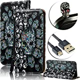 : Galaxy S6 Edge Case [Shock-Absorption],Vandot Slim Fit PU Leather Stand Flip Magnetic Wallet Case for Samsung Galaxy S6 Edge SM-G925 3D Relief Pattern Pratical Waterproof Cover-Skulls+Anti Dust Plug+USB Data Line