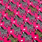 0,5m Softshell Zebras pink Digitaldruck - Fleece-Rückseite