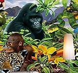ShAH Benutzerdefiniertes Hintergrundbild Regenwald Tierwelt Grünen Wald Pflanzen Mittelmeer Fernseher Sofa Hintergrund Wandbilder 3D Wallpaper 3D Tapete Hintergrundbild Wallpaper Wandmalerei Fresko Mural 200cmX100cm