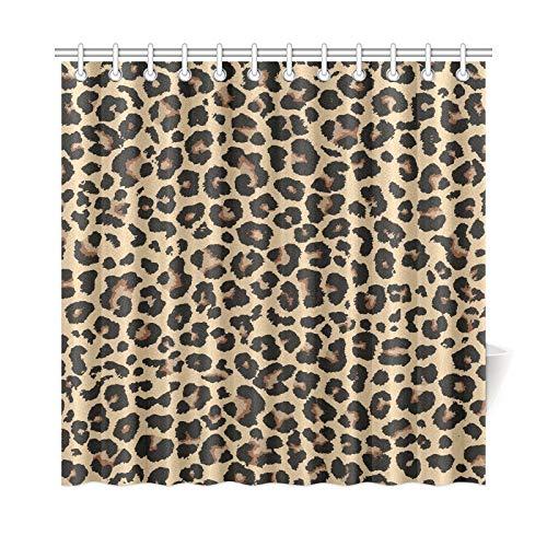QuqUshop Hauptdekor-Bad-Vorhang-Leopard-Entwurfs-Polyester-Gewebe-wasserdichter Duschvorhang für Badezimmer, 72 x 72 Zoll-Duschvorhang-Haken eingeschlossen